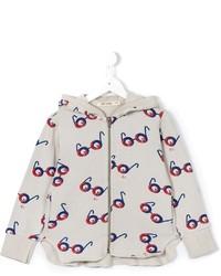 grauer bedruckter Pullover mit einer Kapuze von Bobo Choses