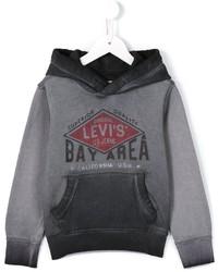 grauer bedruckter Pullover mit einer Kapuze von Levi's