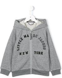 grauer bedruckter Pullover mit einer Kapuze von Little Marc Jacobs