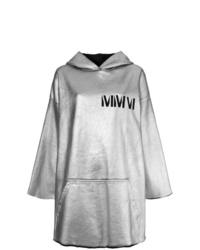 grauer bedruckter Pullover mit einer Kapuze von MM6 MAISON MARGIELA