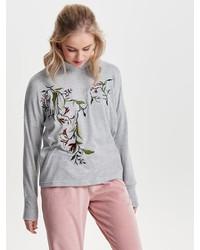 grauer bestickter Pullover mit einem Rundhalsausschnitt von Only
