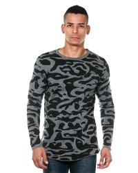 grauer Camouflage Pullover mit einem Rundhalsausschnitt von MADMEXT