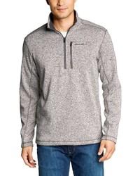 grauer Fleece-Pullover mit einem Reißverschluss am Kragen von Eddie Bauer
