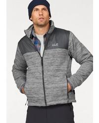 grauer Fleece-Pullover mit einem Reißverschluß von Jack Wolfskin