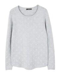 grauer gepunkteter Pullover mit einem Rundhalsausschnitt von Mango