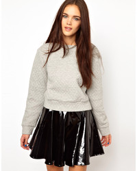grauer gesteppter kurzer Pullover von Glamorous