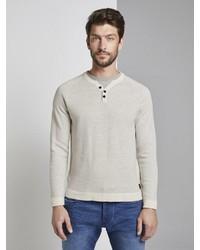 grauer Henley-Pullover von Tom Tailor