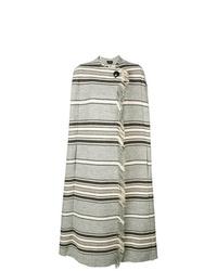 grauer horizontal gestreifter Cape Mantel von Isabel Marant