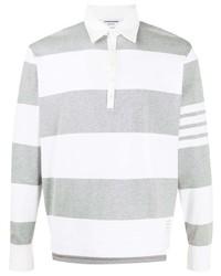 grauer horizontal gestreifter Polo Pullover von Thom Browne