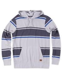 grauer horizontal gestreifter Pullover mit einem Kapuze