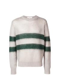 grauer horizontal gestreifter Pullover mit einem Rundhalsausschnitt von Golden Goose Deluxe Brand