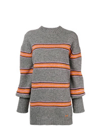 grauer horizontal gestreifter Pullover mit einem Rundhalsausschnitt von MSGM