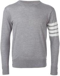 grauer horizontal gestreifter Pullover mit einem Rundhalsausschnitt von Thom Browne