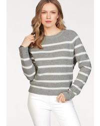 grauer horizontal gestreifter Pullover mit einem Rundhalsausschnitt von Tommy Hilfiger