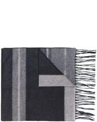 grauer horizontal gestreifter Wollschal von Salvatore Ferragamo