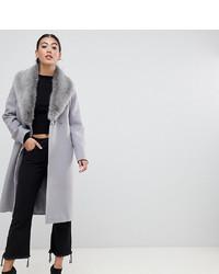 grauer Mantel mit einem Pelzkragen von Asos Petite