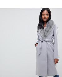 grauer Mantel mit einem Pelzkragen von Asos Tall