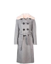grauer Mantel mit einem Pelzkragen von Coach
