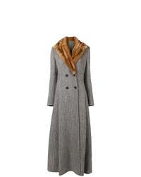 grauer Mantel mit einem Pelzkragen von Ermanno Scervino