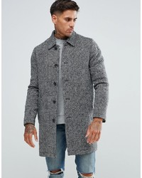 grauer Mantel mit Fischgrätenmuster von Asos