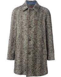 grauer Mantel mit Fischgrätenmuster von Jacob Cohen