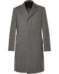 Grauer Mantel mit Fischgrätenmuster