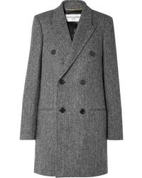 grauer Mantel mit Fischgrätenmuster von Saint Laurent