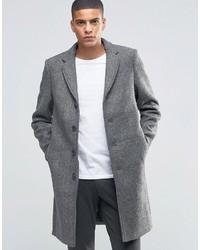 grauer Mantel mit Fischgrätenmuster von Selected