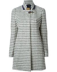 grauer Mantel mit Hahnentritt-Muster