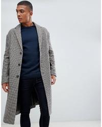grauer Mantel mit Karomuster von New Look