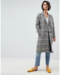 grauer Mantel mit Schottenmuster von ASOS DESIGN