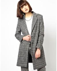 grauer Mantel mit Schottenmuster von Helene Berman
