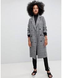 grauer Mantel mit Schottenmuster von Monki
