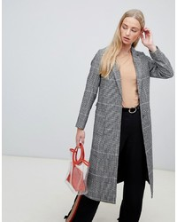 grauer Mantel mit Schottenmuster von New Look