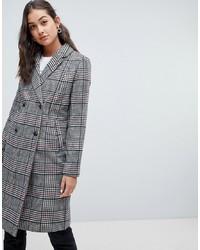 grauer Mantel mit Schottenmuster von Only