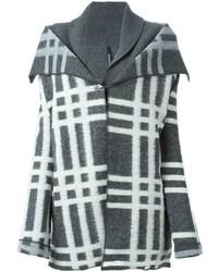 grauer Mantel mit Schottenmuster von Woolrich
