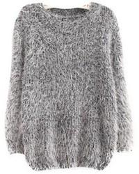 grauer Mohair Oversize Pullover