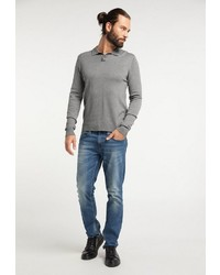 grauer Polo Pullover von Dreimaster