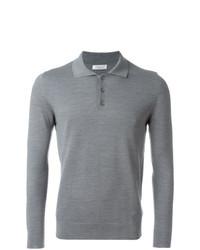 grauer Polo Pullover von Fashion Clinic Timeless