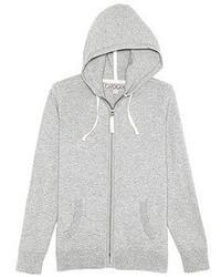 grauer Pullover mit einem Kapuze