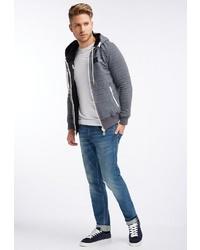 grauer Pullover mit einem Kapuze von DRY LAUNDRY