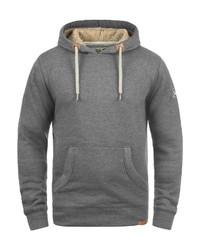 grauer Pullover mit einem Kapuze von Solid