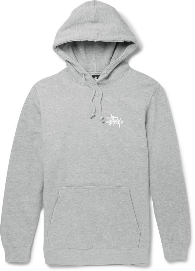 grauer Pullover mit einem Kapuze von Stussy
