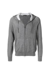 grauer Pullover mit einem Kapuze von Z Zegna