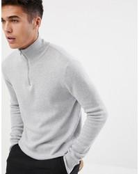grauer Pullover mit einem Reißverschluss am Kragen von ASOS DESIGN