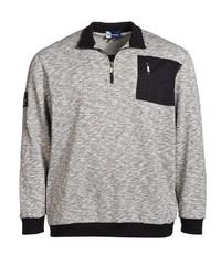 grauer Pullover mit einem Reißverschluss am Kragen von Big fashion