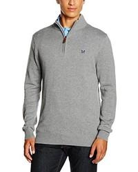 grauer Pullover mit einem Reißverschluss am Kragen von Crew Clothing