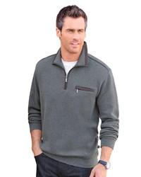 grauer Pullover mit einem Reißverschluss am Kragen von Hajo