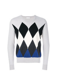 grauer Pullover mit einem Rundhalsausschnitt mit Argyle-Muster