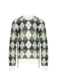 grauer Pullover mit einem Rundhalsausschnitt mit Argyle-Muster von JW Anderson